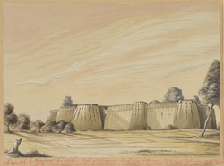 View of the Fort, Nurpur (Sind), half way between Kotri and Sehwan.  January 1852